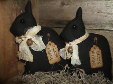 Primitive Black Netherland Dwarf Rabbit Bunny PAIR folk art rustic tucks ornies