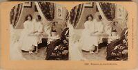 USA Vita Un Coppia Amanti Foto Stereo Vintage Albumina 1899
