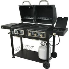 HYBRID BBQ Grill GAS & CHARCOAL 24,000 BTU Cast Iron Grid Stainless Steel Burner