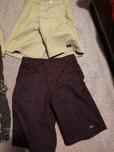 lot of 2 Dickies Size 12 Reg  tan and black classic boy's bermuda shorts