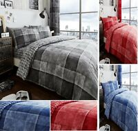 DENIM CHECK Luxuries Printed Reversable Duvet Cover+Pillow Case Bedding Set Gc