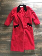 Christian Dior Women's Wool Trench Coat Red Vintage Long VTG Button Up