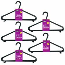 50 x BLACK ADULT PLASTIC COAT HANGER CLOTHES TROUSERS HANGERS TROUSER BAR & LIPS