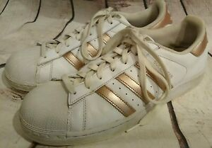 ADIDAS SuperStar Shell Toe White W/ ROSE GOLD TRIM WOMEN'S SIZE 9 Sneakers Shoes