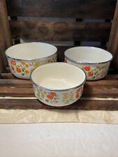 Set of 3 Enamel serving Bowls with Metal Rims Nesting
