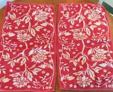 Ralph Lauren Vintage Red Pink And White Floral Hand Towels Pair
