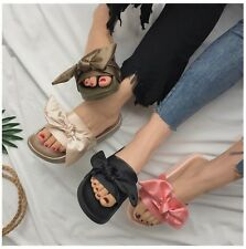 Womens Bow Sliders Slippers Flip Flop Sandals Slip On Mules Comfy Flats Shoes