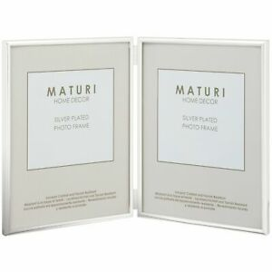 SILVER PLATED THIN EDGE DOUBLE APERTURE PICTURE PHOTO FRAME - 4 x 6-inch