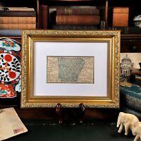 Framed Original 1887 Antique Map ARKANSAS Little Rock Fayetteville Hot Springs