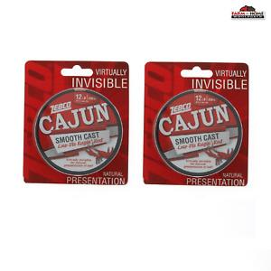 (2) Zebco Cajun Low VIS Filler Fishing Line 330yd 12lb Ragin Red ~ NEW