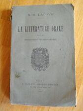 LA LITTERATURE ORALE DANS LES DEUX-SEVRES LACUVE 1906 CHANSONS PROVERBES ..EO
