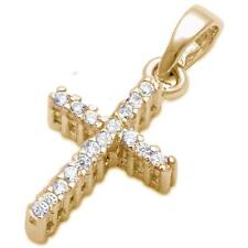 Yellow Gold Plated Round Cubic Zirconia Cross .925 Sterling Silver Pendant