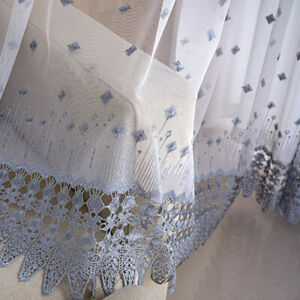 A Panel Semi Sheer Embroidery Net Curtain Lace Floral Window Drape Home Decor