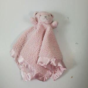 """Katie Little Kidsline Pink Sherpa Bear Lovey Rattle Satin Trim 17""""x17"""" Blanket"""