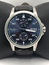 Hugo Boss HB.307.1.14.2999 Men Black Leather Analog Blue Dial Quartz Watch KS438