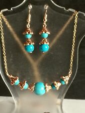 Rose Gold Jewelry Set With Blue Howlite Stone