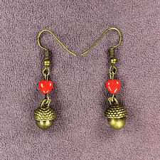 ACORN TRUE LOVE WAITS EARRINGS Drop Dangle Czech Glass Red Heart Bronze Magick