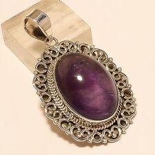 Natural Panorama Amethyst Pendant 925 Sterling Silver Women Statement Jewelry AA