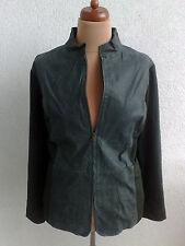NEW Famous Brand leather & ponte blazer coat jacket  sz 2X  22W 24W dark green