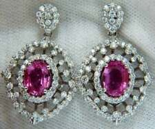 3.00Carat Oval Cut Pink Sapphire & Diamond Earrings 14Karat White Gold Finish