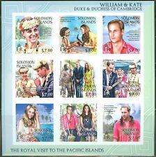 SOLOMON ISLANDS 2013 DUKES OF CAMBRIDGE WILLIAM AND KATE SHEET OF 9 I IMPERF
