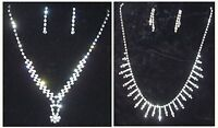 New Diamond Crystal Bling Effect Party Costume Jewellery Necklace Earrings Set