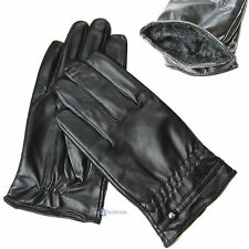 MEN'S WOMENS SOFT LEATHER LOOK PVC GLOVES LINED WINTER INSULATION WARM IN BLACK