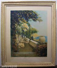 BELLE EAU-FORTE COULEURS terrasse Côte d'Azur signée W. A. Lambrecht 73x61cm