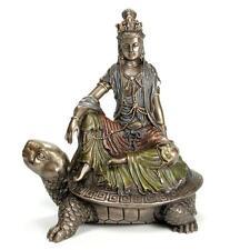 "KWAN YIN ON TORTOISE STATUE 6"" Bronze Resin Buddha HIGH QUALITY Guan Quan Turtle"