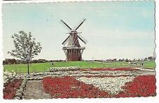 De Zwaan THE SWAN WINDMILL Mill HOLLAND  MICHIGAN MI Postcard Flowers Garden