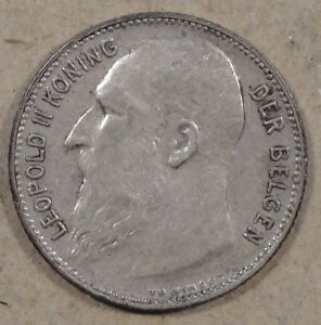 "Belgium 1904 Franc ""Der Belgen"" Nice better Circulated grade Coin"