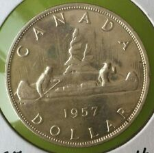 1957 Canadian  Silver Dollar (circulated & cleaned)
