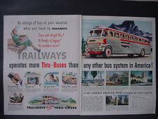 1951 Trailway Bus Line Yellowstone Dc Miami Beach California Vtg Print Ad 12361
