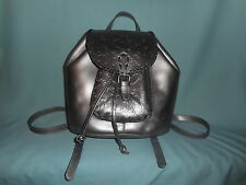 Patricia Nash Metallic Gunmetal Leather Savona Backpack New With Tag & Dust Bag