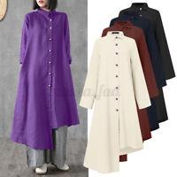 ZANZEA Damen Asymmetrisch Mode Lang Shirtkleid Baumwolle Kragen Knopf Hemd Kleid