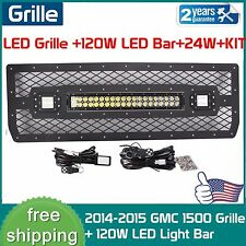 Black Mesh LED Grille W/ 120W LED Lights & 2X24W for 2014 2015 GMC 1500+2xWiring