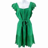 OLD NAVY Women's Green Eyelet Sun Dress Spring Summer Button & Belt Sz Small
