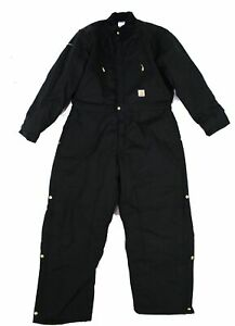 Carhartt Mens Coveralls Black Size 48 Yukon Full-Zip Quilted-Lined $189- 369