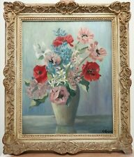 EARLY 20TH CENTURY OIL ON CANVAS FLOWERS IN VASE VINTAGE FLORAL PAINTING