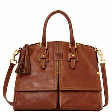 Dooney & Bourke Natural Leather Florentine Clayton Front Pocket Satchel