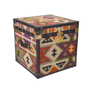 Handcrafted Kilim And Genuine Leather Living Room Side Table And Storage Trunk
