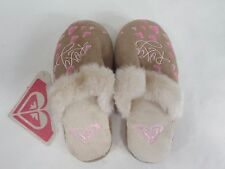 New Girls Kids 13 ROXY Snuggle Hearts Tan Pink Night Slippers Sandals Shoes