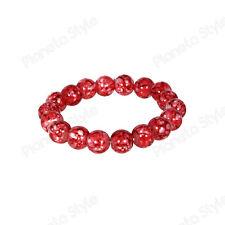 Bracciale Perle Pietre Dure Ø 9 mm Rosso Sfumato Bianco Uomo Donna Elastico