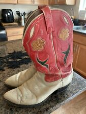 Vintage Ralph Lauren Ladies Red/Buckskin Leather Cowboy Boots Size 9