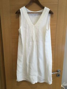 WHITE LABEL THE WHITE COMPANY OFF WHITE LINED LINEN SUMMER BOHO DRESS SIZE 16