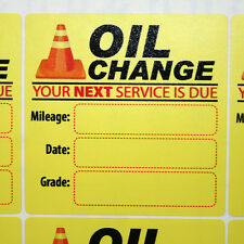 54 Generic Oil Change Service Stickers, HQ Yellow Lotac Low Tack Removable Vinyl