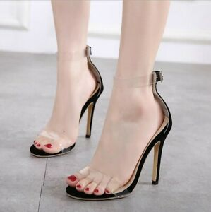 Womens Clear Buckle Open Toe High Stilettos Heels Ankle Strap Sexy Sandals Shoes