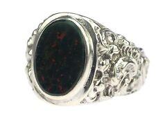Art Deco Herren 835 Silber Siegel Wappen Heliotrop Floraler Ring