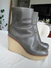 Jill Sander Oliver Green Leather Platform Wedge boots Sz 37 Italy