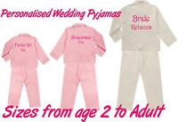 Personalised Satin Wedding Bridal Pyjamas PJ's Adult & Childrens Sizes 2 Colours